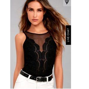 NWT Lulus | Cali Cantina Black Lace Bodysuit